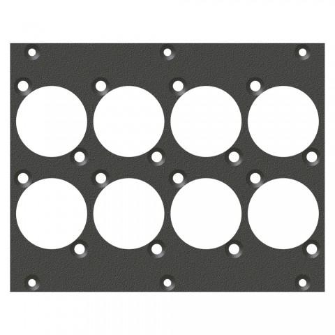 Frontblech 8 x D-Loch, 2 HE, 3 BE für SYS-Gehäuseserien, verzinktes Stahlblech, Farbe: anthrazit, RAL 7016
