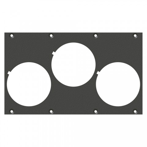 front panel 3 x Schuko-SNAP-In-Hole, 2 HE, 4 BE for SYS-series, Galvanized sheet steel, colour: anthracite, RAL 7016