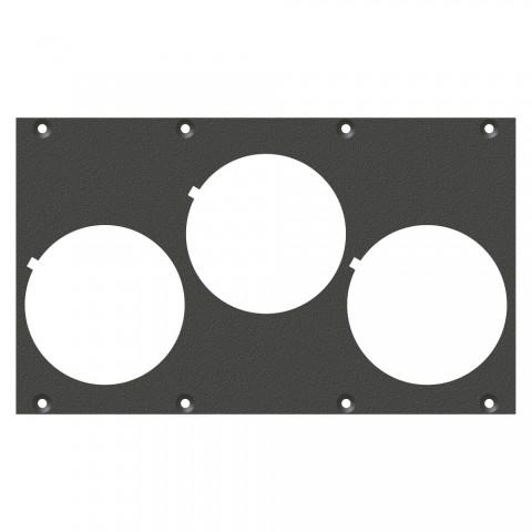 Frontblech 3 x Schuko-SNAP-In-Loch, 2 HE, 4 BE für SYS-Gehäuseserien, verzinktes Stahlblech, Farbe: anthrazit, RAL 7016