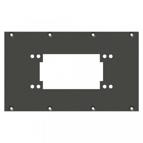 front panel Rectangular-MP06 / MP10-hole, 2 HE, 4 BE for SYS-series, Galvanized sheet steel, colour: anthracite, RAL 7016