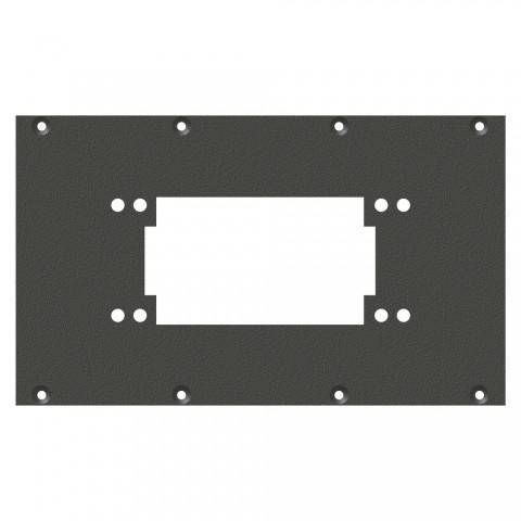 Frontblech Rechteck-MP06 / MP10-Ausschnitt, 2 HE, 4 BE für SYS-Gehäuseserien, verzinktes Stahlblech, Farbe: anthrazit, RAL 7016