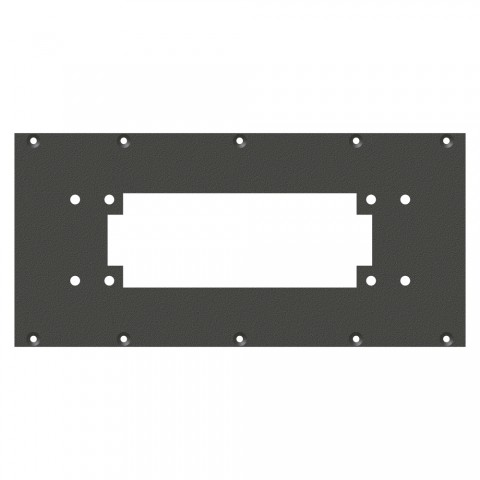 front panel Square-MP16 / MP24-cutout, 2 HE, 5 BE for SYS-series, Galvanized sheet steel, colour: anthracite, RAL 7016