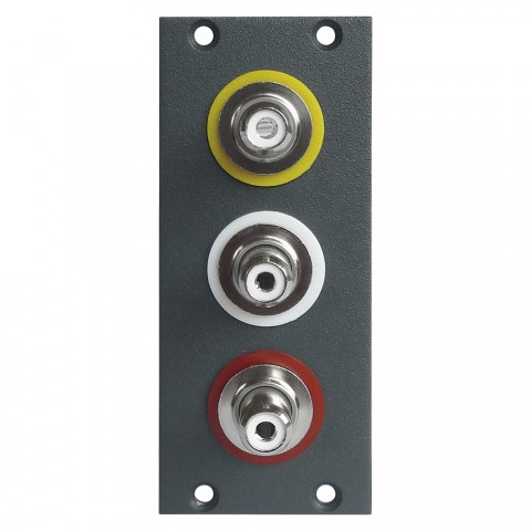 Steckverbinder-Modul 3 x Cinch / RCA female Patch A/V, 2 HE, 1 BE für SYS-Gehäuseserien, Farbe: anthrazit, RAL 7016 | SYCFB21-C3A-P