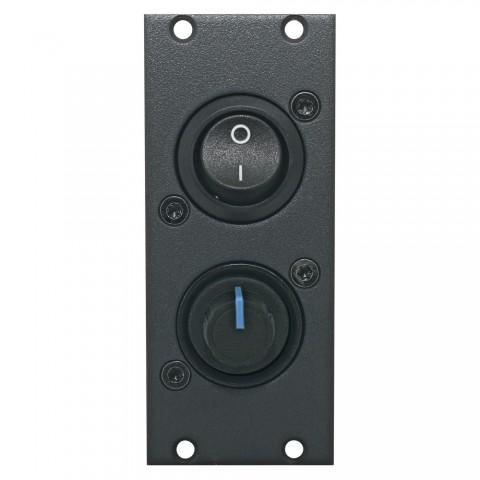 Schalter-Modul Schalter on / off + Stereo-Volume -> Lötanschluss, 2 HE, 1 BE für SYS-Gehäuseserien, Farbe: anthrazit, RAL 7016 | SYCFB21-SWPT