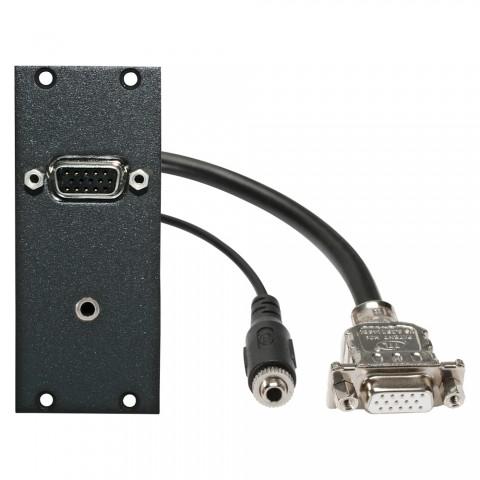 Steckverbinder-Modul VGA + 3,5 mm Stereoklinke fem. -> 0,2m Kabel VGA + 3,5 mm Stereoklinke fem., 2 HE, 1 BE für SYS-Gehäuseserien, Farbe: anthrazit, RAL 7016   SYCFB21-VGA-C3