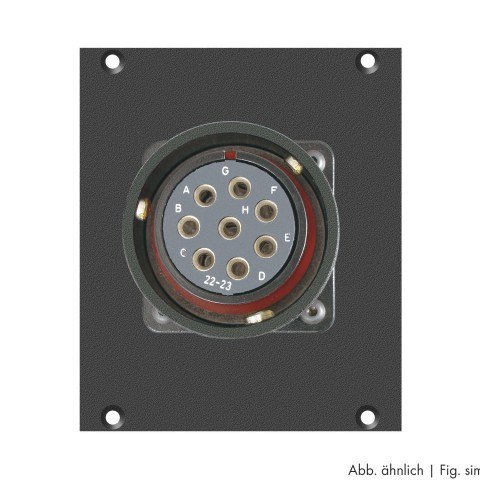 Side panel module LK 8-pole female, CA-COM.-comp. -> 2 push-on blade con. 14-pole, lockable, 2 HE; depth: 80 mm for SYSBOXX, colour: anthracite, RAL 7016