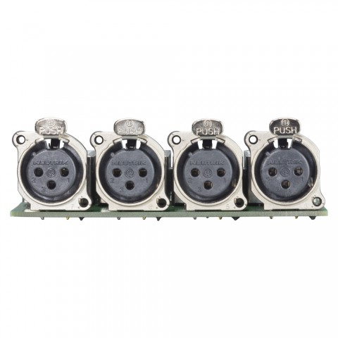 Splitter module 4 x XLR B-Series female, 3-pole , 1 HE, 3 BE, metal-, 2 x 14-pole blade terminal-, silver plated contact(s), nickel coloured, for SYS-series