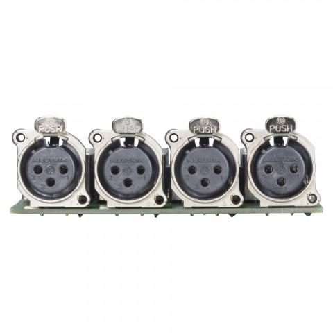 Splitter-Modul 4 x XLR B-Serie female, 3-pol , 1 HE, 3 BE, Metall-, Flachstecker 2 x 14-pol-, versilberte(r) Kontakt(e), nickelfarben, für SYS-Gehäuseserien