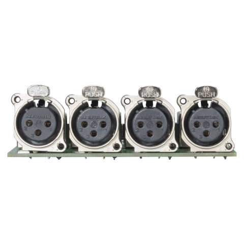 Splitter-Modul 4 x XLR B-Serie female, 3-pol , 1 HE, 3 BE, Metall-, Flachstecker 3 x 14-pol-, versilberte(r) Kontakt(e), nickelfarben, für SYS-Gehäuseserien