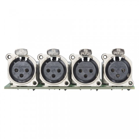 Splitter module 4 x XLR B-Series female, 3-pole , 1 HE, 3 BE, metal-, blade terminal 3 x 14 pole-, silver plated contact(s), nickel coloured, for SYS-series