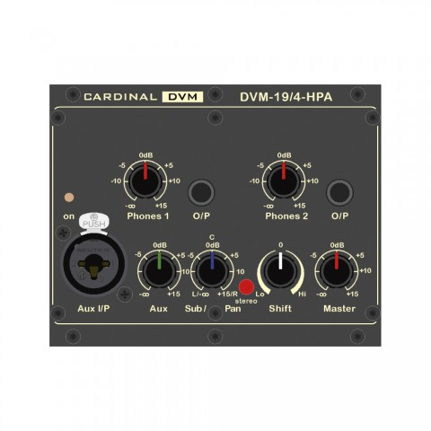 "CARDINAL DVM ¼ -19"" headphone amplifier module, Conference, 2 HE, W x H x D: 106,5 mm x 84 mm x 132 mm"