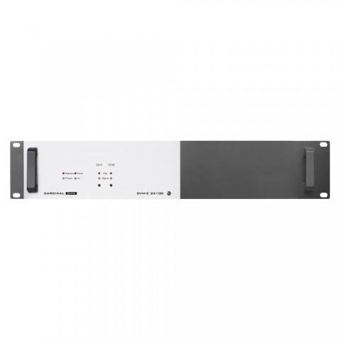 CARDINAL DVM ELA-amplifier 2 x 100 W, 100 V, IN: Phönix | OUT: Phönix, 2 HE, W x H x D: 483 mm x 88 mm x 290 mm