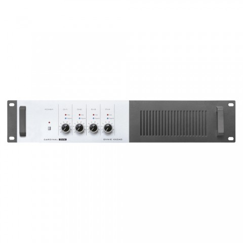 CARDINAL DVM ELA-Endstufe 4x40 W, 100 V, Splitter, IN: 2 x Cinch je Kanal | OUT: LS-Klemmen bis 4 mm², 2 HE, B x H x T: 483 mm x 92 mm x 290 mm