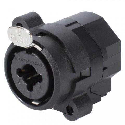 NEUTRIK® XLR / Klinke (6,3mm), 3-pol , Kunststoff-, Löttechnik-Einbaubuchse, vergoldete(r) Kontakt(e), Type C, schwarz