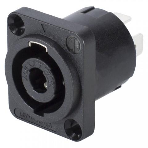 "NEUTRIK SpeakON, 4-pole , plastic-, 3/16"" Flat tabs-male connector, silver plated contact(s), Type D, black"