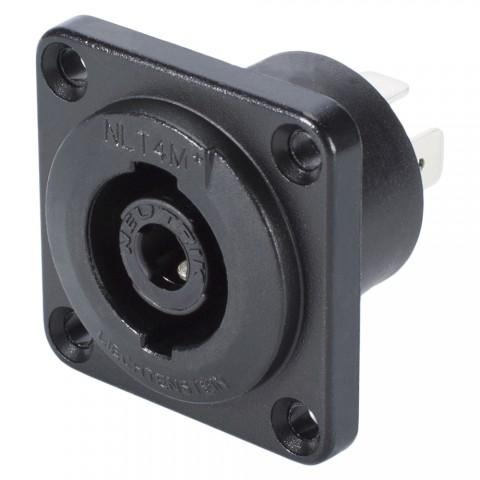 NEUTRIK SpeakON, spritzwassergeschützt IP54 , 4-pol , Metall-, Löttechnik-Einbaustecker, versilberte(r) Kontakt(e), Type G, schwarz verchromt