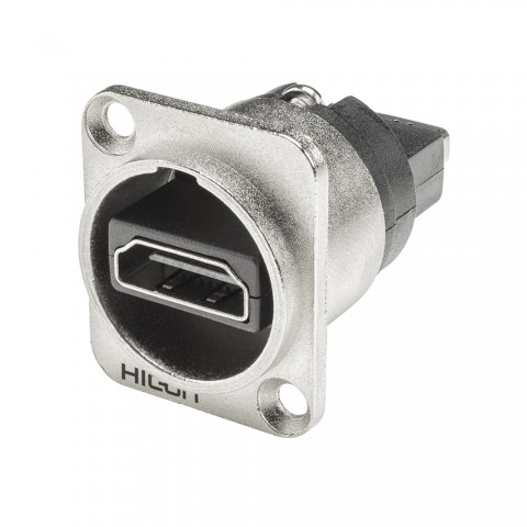 HICON HDMI, 19-pol , metal-, Patch-female connector, gold plated contact(s), Type D, nickel coloured