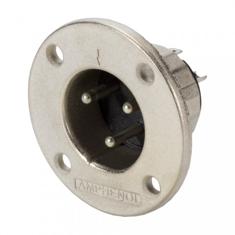 Amphenol EP-Steckverbinder, 3-pol , Metall-, Löttechnik-Einbaustecker, verzinnte(r) Kontakt(e), Type G rund, silbergrau