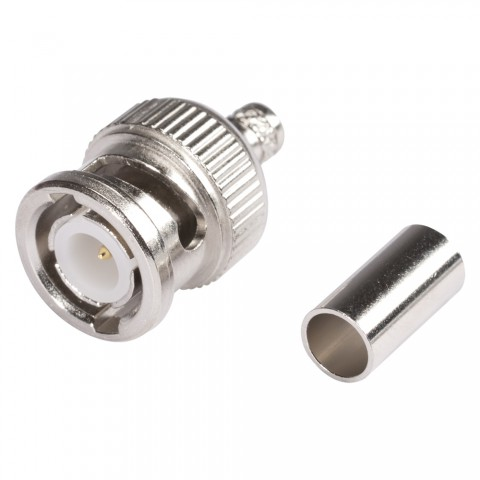 HICON BNC crimp-male connector 1.0/3.2, straight, nickel coloured