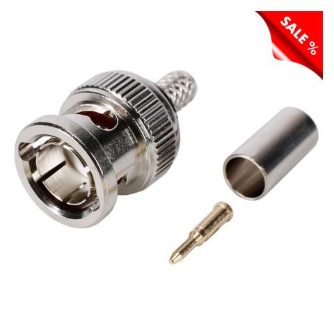 HICON BNC crimp-male connector 0.66/3.2, straight, nickel coloured