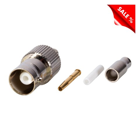 HICON BNC crimp-female connector 0.3/1.8, straight, nickel coloured