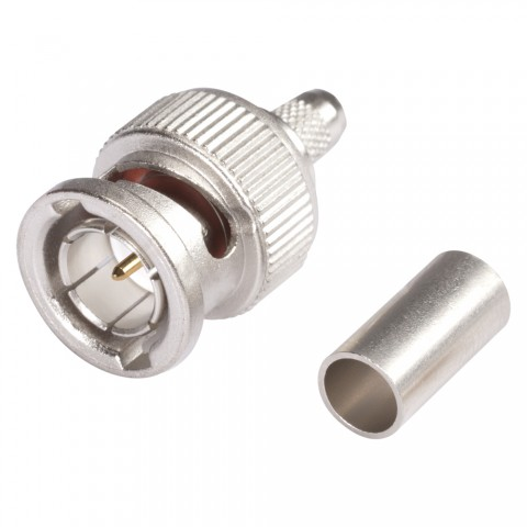 HICON BNC 3G-SDI crimp-male connector 0.6/2.8, straight, nickel coloured