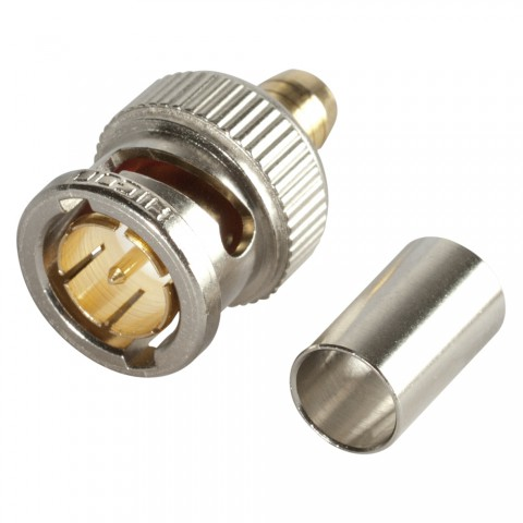 HICON BNC 3G-SDI crimp-male connector 1.2/5.0, straight, nickel coloured