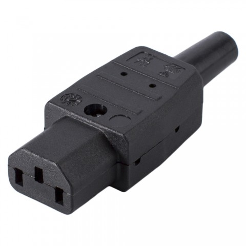 IEC, 3-pole , plastic-, screw-type-female connector, nickel plated contact(s), straight, max. 1,5 mm², black