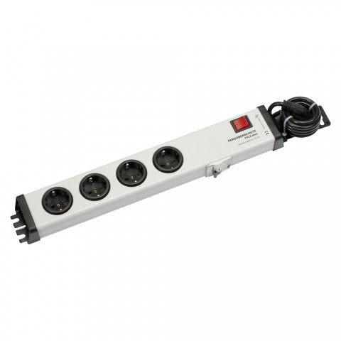 "multiple socket outlet, 4 x Schuko, cable length: 1,5 m, Rack Version 19"" 1,5HE, GFCI breaker 16 A"