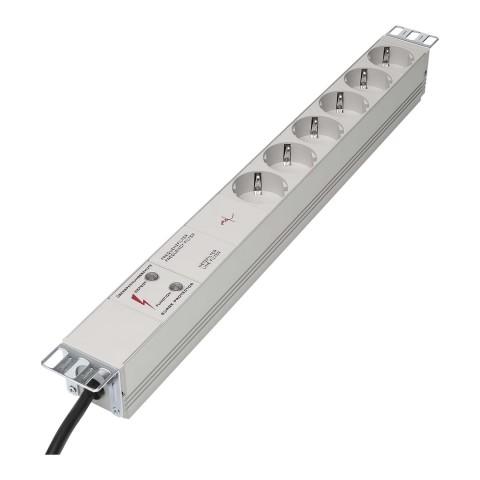 """Steckdosenleiste, 6 x Schuko, Kabellänge: 2 m, Rack Version 19"""" 1HE, 6,5kA Überspannungsschutz, Netz- und Frequenzfilter"""