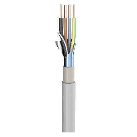 Power Lead (N)YM-(ST)-J; 4 x 4,00 mm²; PVC, flame-retardant, Ø 14,00 mm; grey