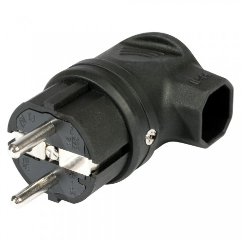 SCHUKO, 2-pole , plastic-, screw-type-male connector, nickel plated contact(s), angled, max. 1,5 mm², black