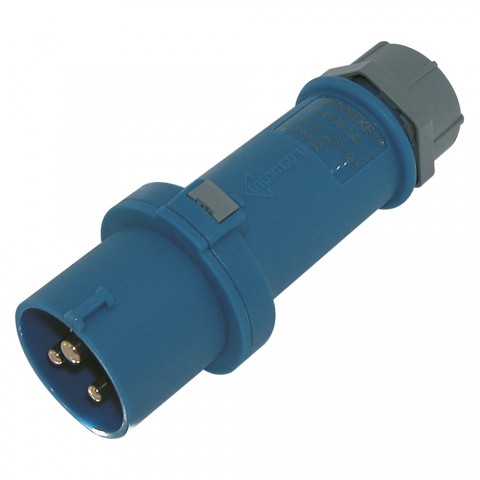 Mennekes CEE, 3-pole , plastic-, screw-type-male connector, nickel plated contact(s), straight, max. 2,5 mm², blue