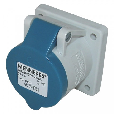 Mennekes CEE, 3-pole , plastic-, screw-type-female connector, nickel plated contact(s), straight, max. 2,5 mm², blue
