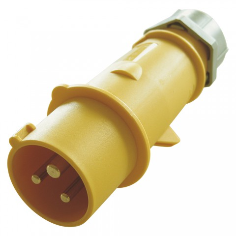 Mennekes CEE, 3-pole , plastic-, screw-type-male connector, nickel plated contact(s), straight, max. 2,5 mm², yellow