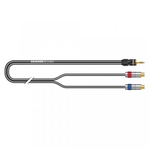 Stereo split cable SC-Onyx, 1 x 0,25 mm² | mini-jack / RCA, HICON