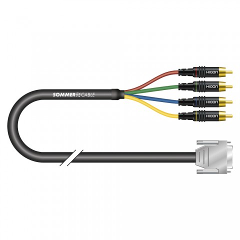 Vga-cable Transit Mini Flex, 5 x 0,08 mm² | Sub-D / RCA, HICON