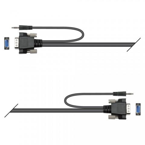 Monitorkabel VGA, 19  x  | HD-SUB-D + Stereo-Klinke / HD-SUB-D + Stereo-Klinke
