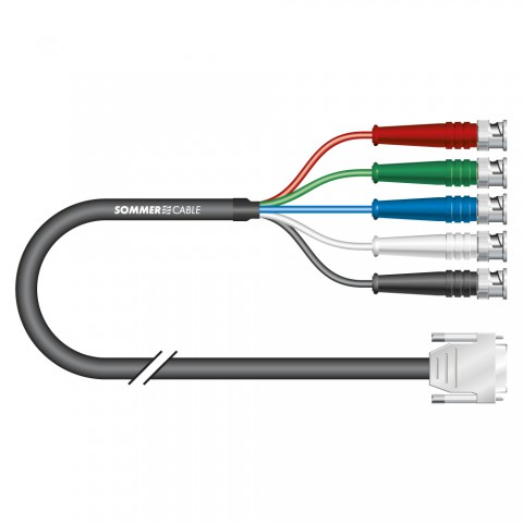 Monitor cable Transit Mini Flex, 5 x 0,08 mm² | HD-SUB-D / BNC, HICON