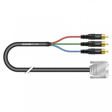 Monitor cable Transit Mini Flex, 3 x 0,08 mm² | HD-SUB-D / RCA, HICON