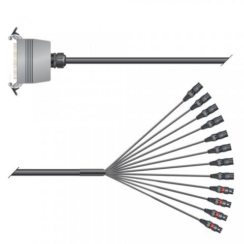 Multicore-Kabel mit Rechteck-MP-Verbinder -> Spleiss