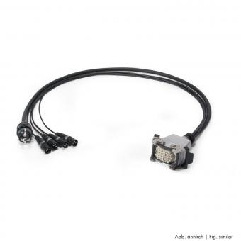 Multicore cable AES / EBU, DMX & Power 04/00 | 4 x XLR 5-pole male NEUTRIK + Schuko connector male | Multipin female | Scuba + Rubberflex | 1,00m