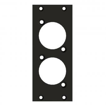 Frontblech 2 x D-Loch, 2 HE, 1 BE für SYS-Gehäuseserien, 2,5 mm verzinktes Stahlblech, Farbe: anthrazit, RAL 7016