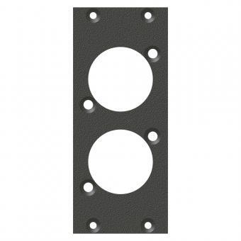 Frontblech 2 x D-Loch, 90° gedreht, 2 HE, 1 BE für SYS-Gehäuseserien, Farbe: anthrazit, RAL 7016