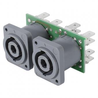 Steckverbinder-Modul 2 x NL4MDV, 4-pol , 2 HE, 1 BE, Kunststoff-, 6,3 mm Flachsteckzungen-, versilberte(r) Kontakt(e), grau, für SYS-Gehäuseserien
