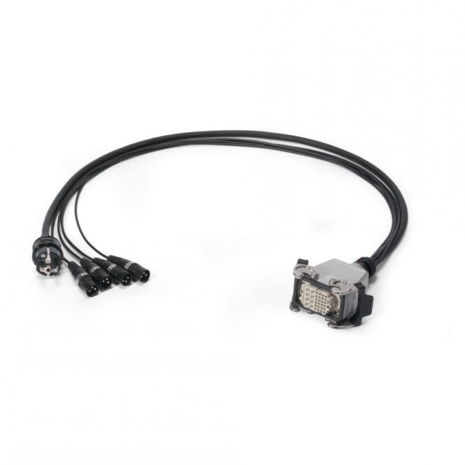 Multicore-Kabel AES / EBU, DMX & Power 04/00 | 4x XLR 5-pol male NEUTRIK + Schuko-Stecker | Multipinbuchse | Scuba + Rubberflex | 1,00m