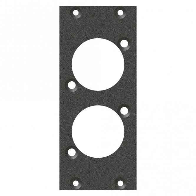Frontblech 2 x D-Loch, 90° gedreht, 2 HE, 1 BE für SYS-Gehäuseserien, verzinktes Stahlblech, Farbe: anthrazit, RAL 7016