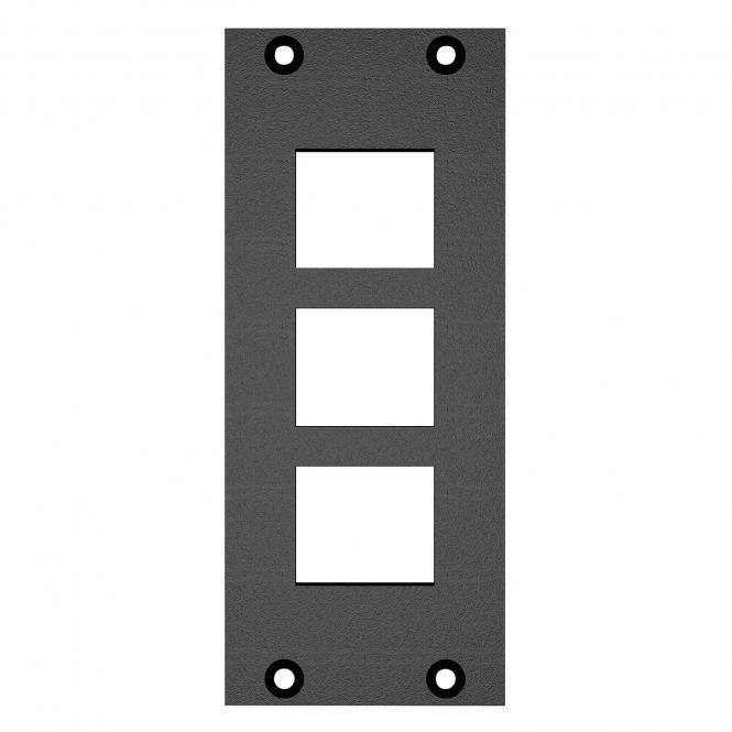 Frontblech 3 x Ausschnitt für Clip-In-Module (Keystone), 2 HE, 1 BE für SYS-Gehäuseserien, verzinktes Stahlblech, Farbe: anthrazit, RAL 7016