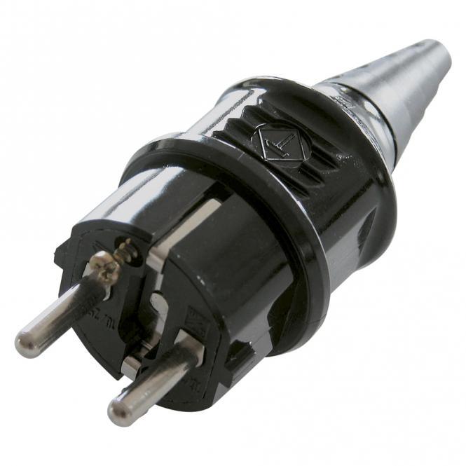 Mennekes SCHUKO, 2-pol , Kunststoff-, Schraubkontakt-Kabelstecker, vernickelte(r) Kontakt(e), gerade, max. 2,5 mm², schwarz
